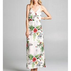 White Spaghetti Strap Floral Wrap Dress